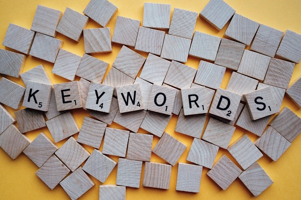 Word Keywords Written with Wooden Scrabble Letters