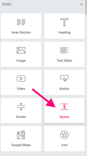 arrow pointing to spacer option on elementor