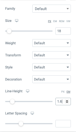 elementor font size and line height settings