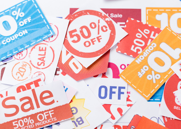 array of coupons