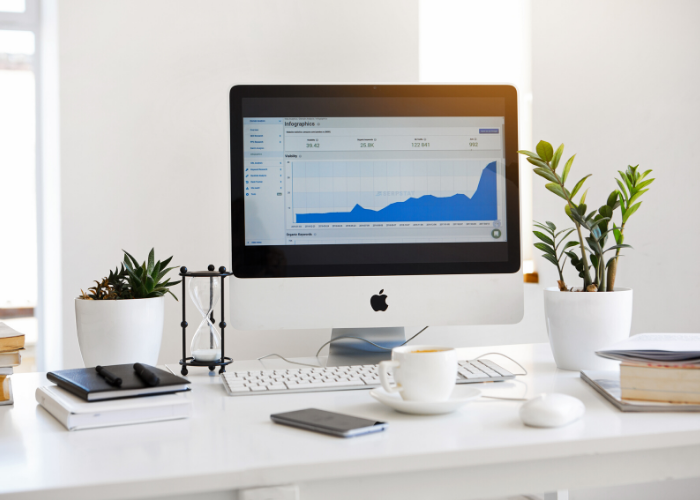 google analytics on computer at desk