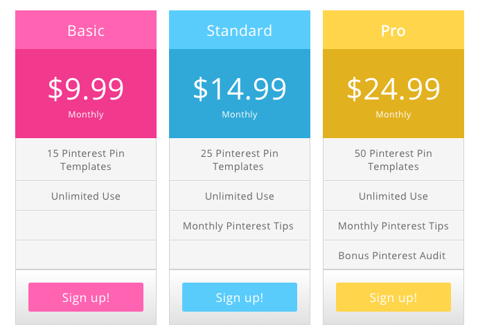monthly pinterest pin subscription payment options